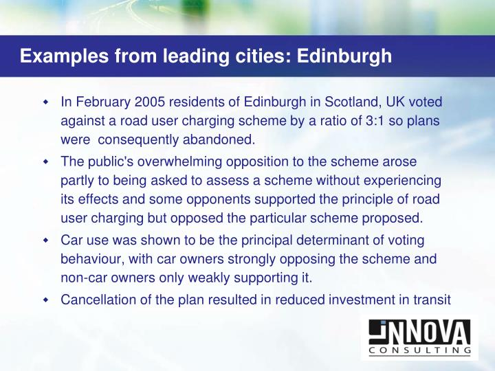 Examples from leading cities: Edinburgh