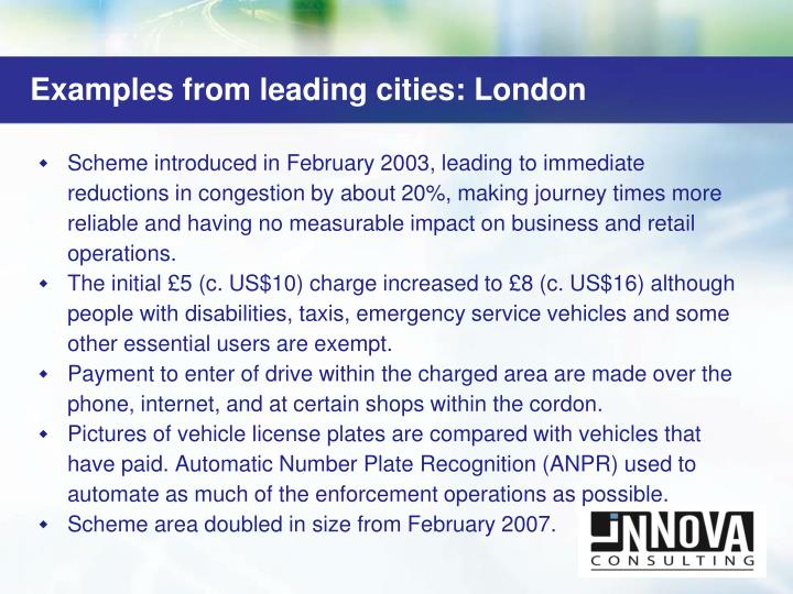 Examples from leading cities: London