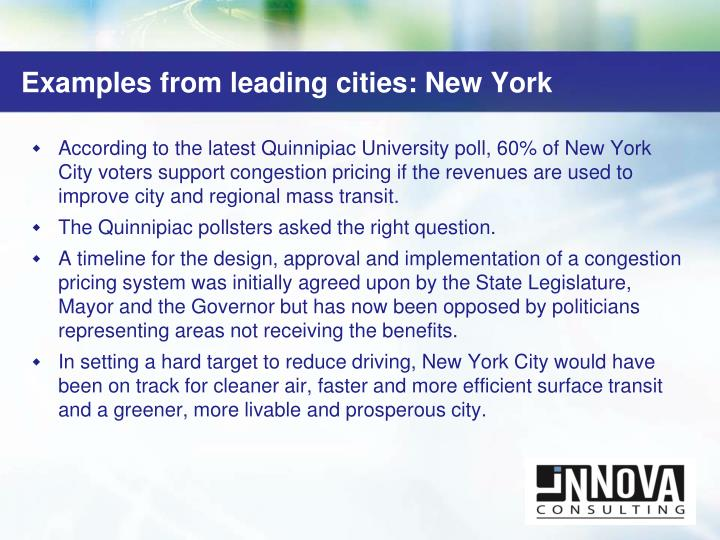 Examples from leading cities: New York