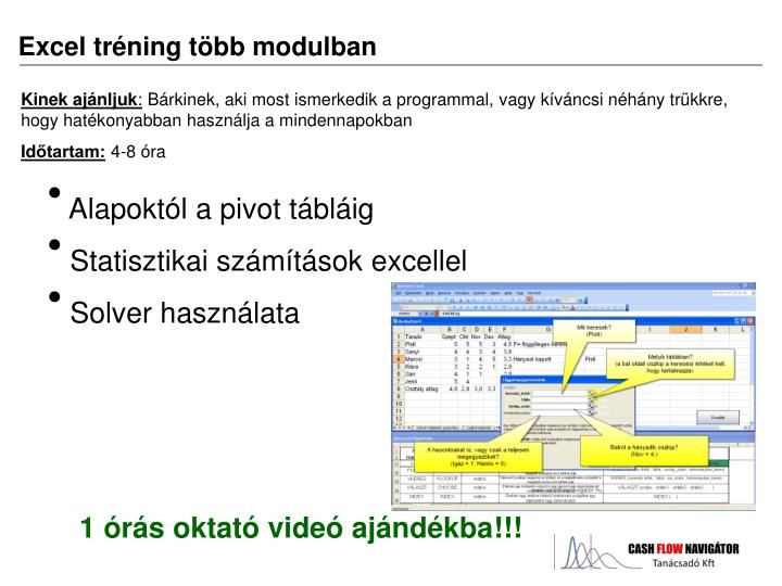 Excel tréning több modulban