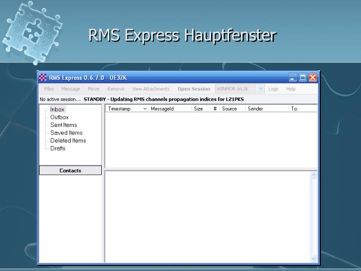 RMS Express Hauptfenster