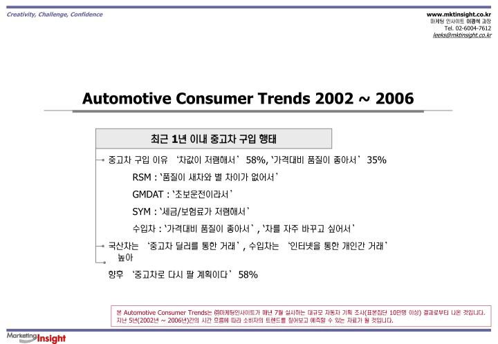 Automotive Consumer Trends 2002 ~ 2006