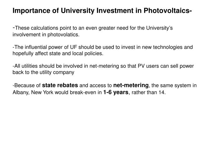 Importance of University Investment in Photovoltaics-