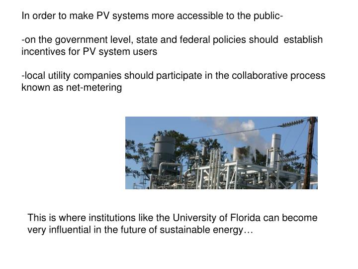 In order to make PV systems more accessible to the public-