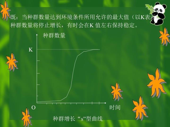 既:当种群数量达到环境条件所用允许的最大值(以