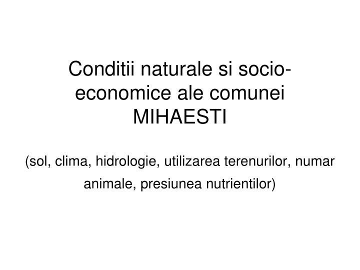Conditii naturale si socio-economice ale comunei