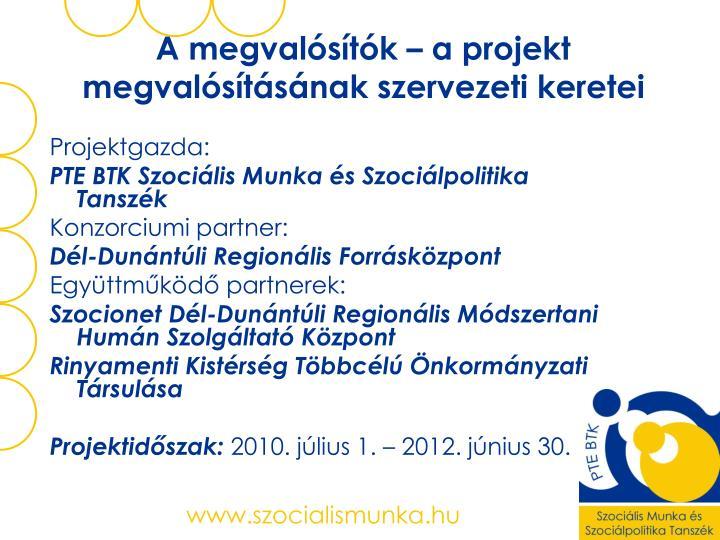 A megvalósítók – a projekt megvalósításának szervezeti keretei