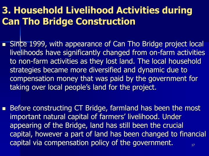 3. Household Livelihood Activities during Can Tho Bridge Construction