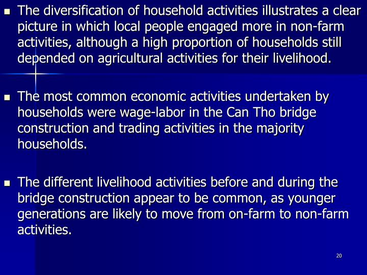 The diversification of household activities illustrates a clear picture in which local people engaged more in non-farm activities, although a high proportion of households still depended on agricultural activities for their livelihood.