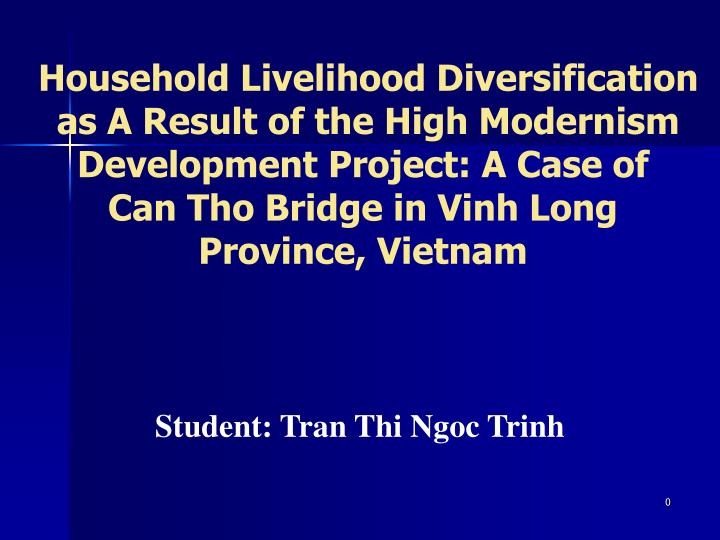 Household Livelihood Diversification