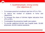 1 qualified people strong society our objectives 2