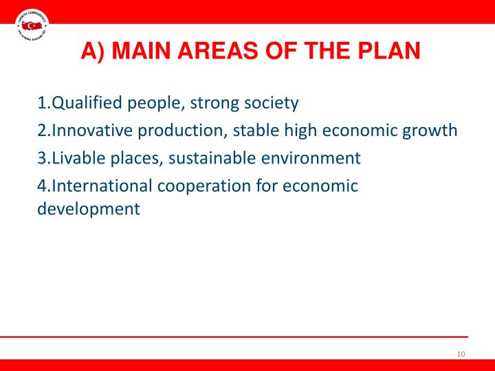 A) MAIN AREAS OF THE PLAN