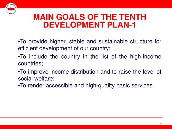 MAIN GOALS OF THE TENTH DEVELOPMENT PLAN-1