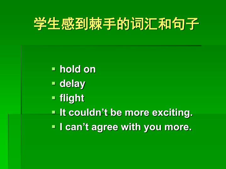 学生感到棘手的词汇和句子