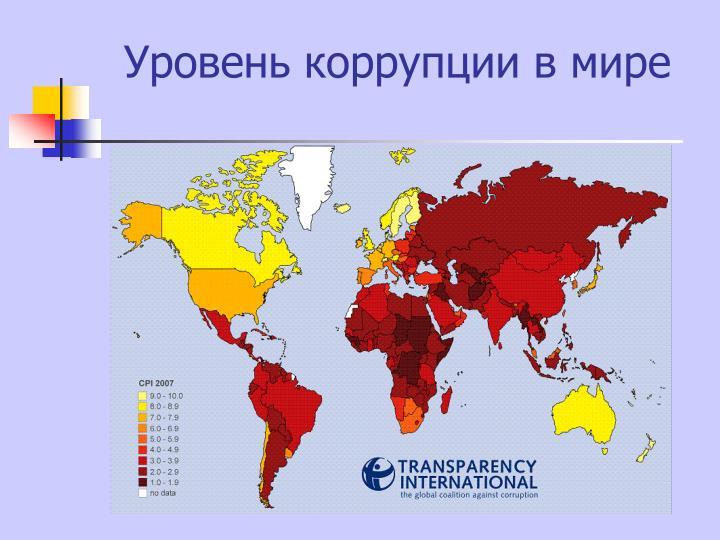 Уровень коррупции в мире