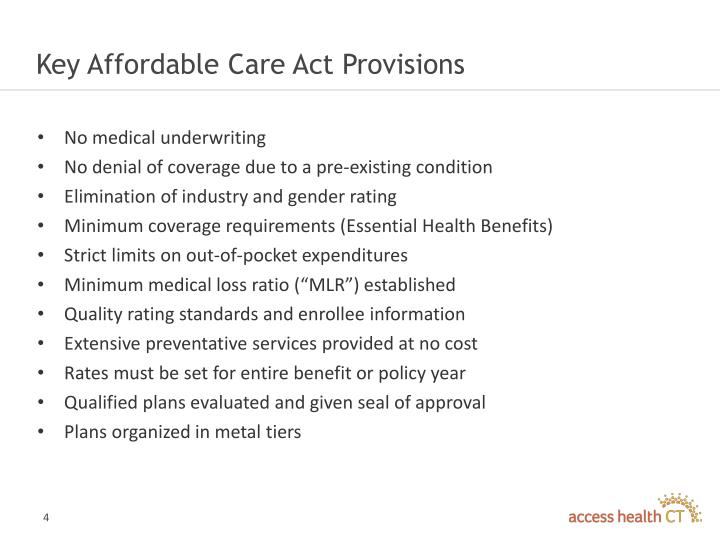Key Affordable Care Act Provisions