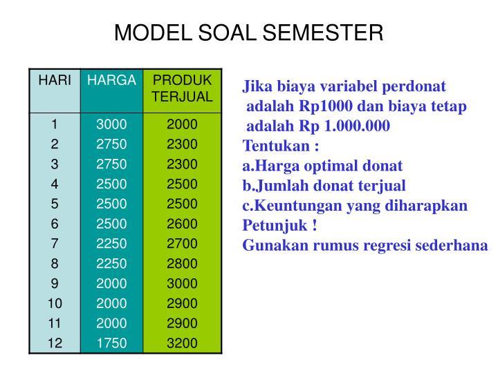 MODEL SOAL SEMESTER