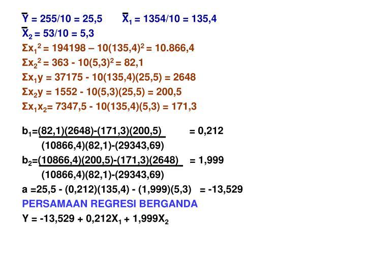 Y = 255/10 = 25,5       X