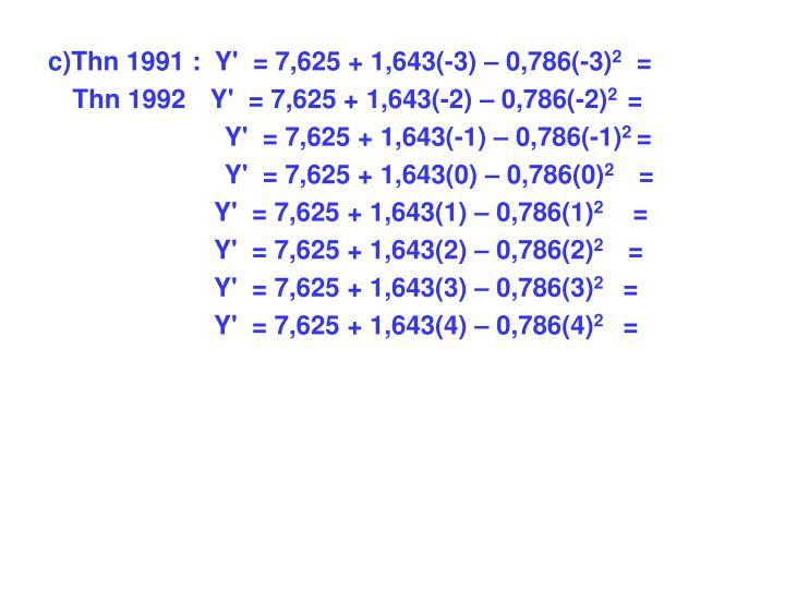 c)Thn 1991 :  Y'  = 7,625 + 1,643(-3) – 0,786(-3)