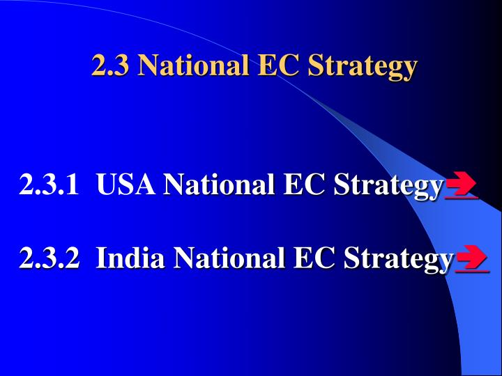 2.3 National EC Strategy