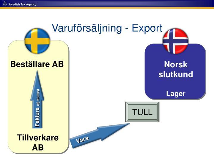 Varuförsäljning - Export