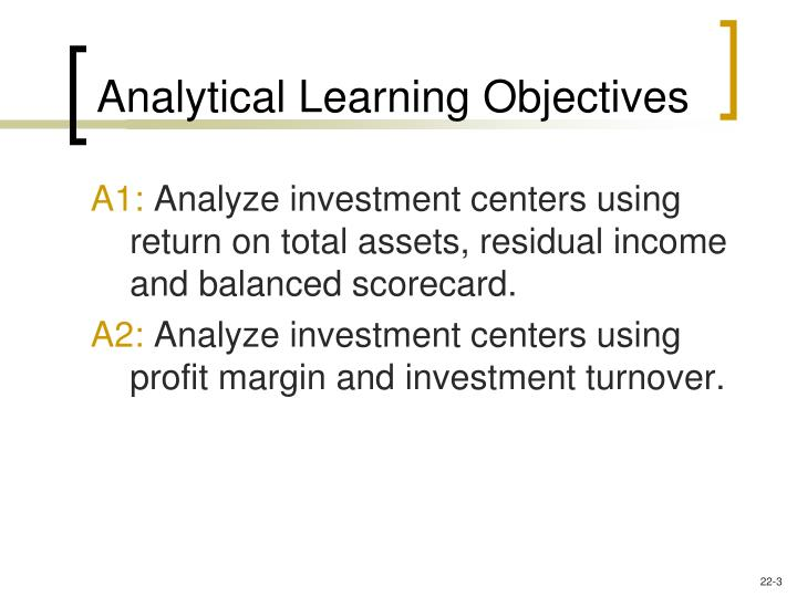 Analytical learning objectives