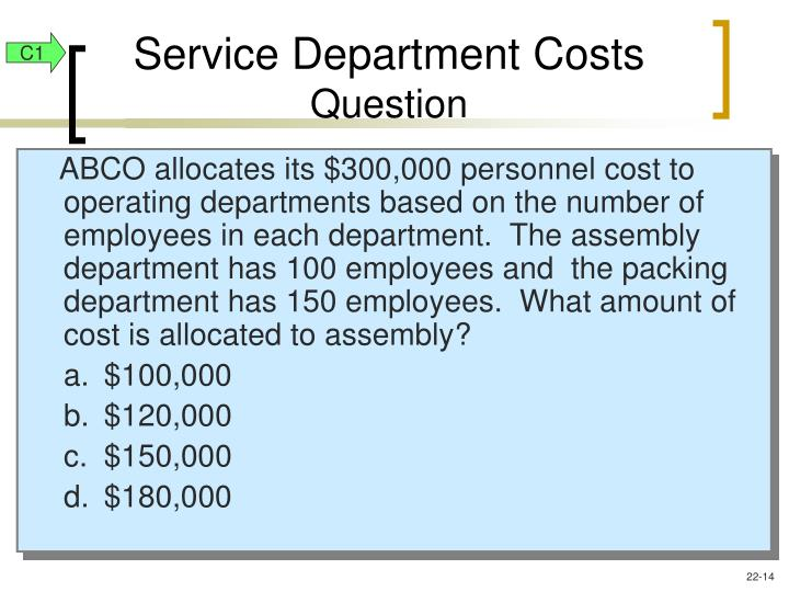 Service Department Costs