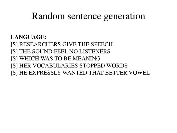 Random sentence generation