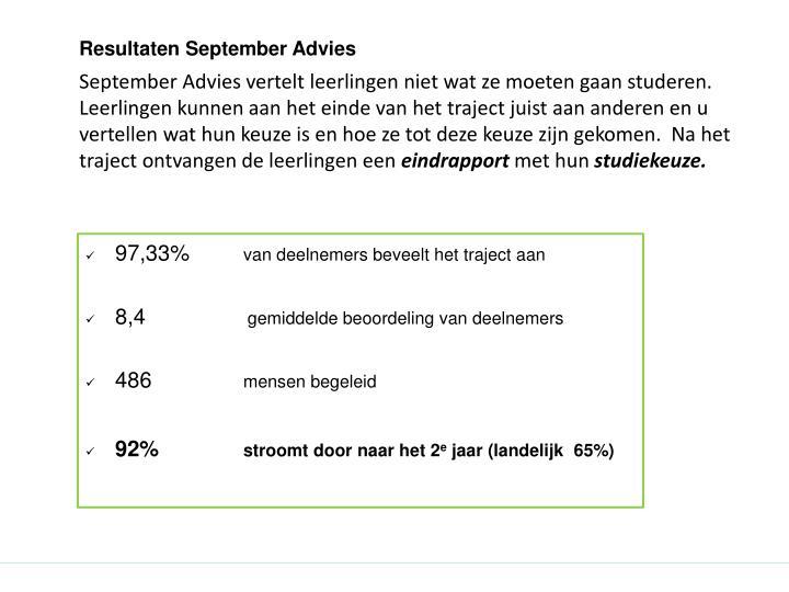 Resultaten September Advies