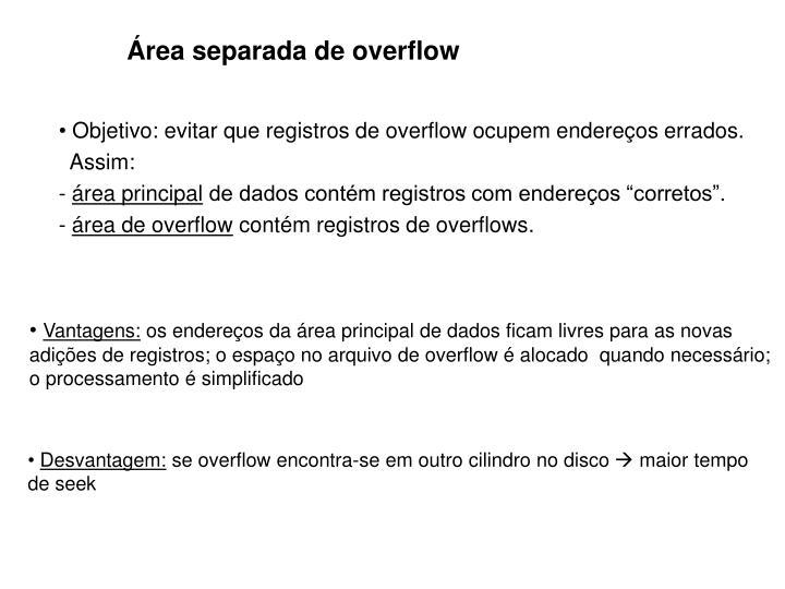 Área separada de overflow