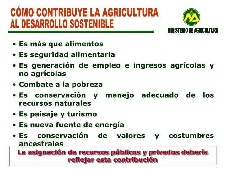 CÓMO CONTRIBUYE LA AGRICULTURA