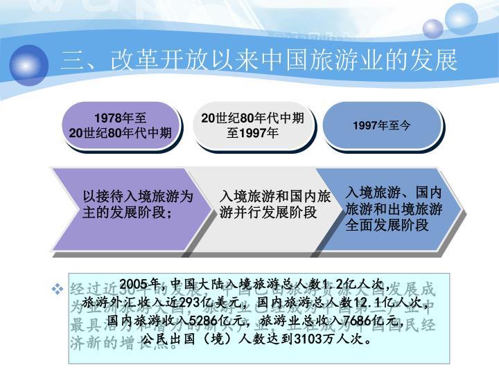 三、改革开放以来中国旅游业的发展