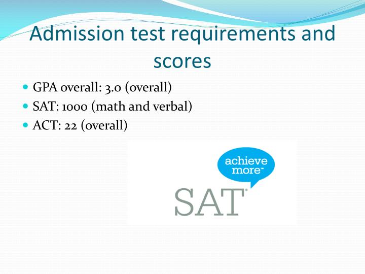 Admission test requirements and scores