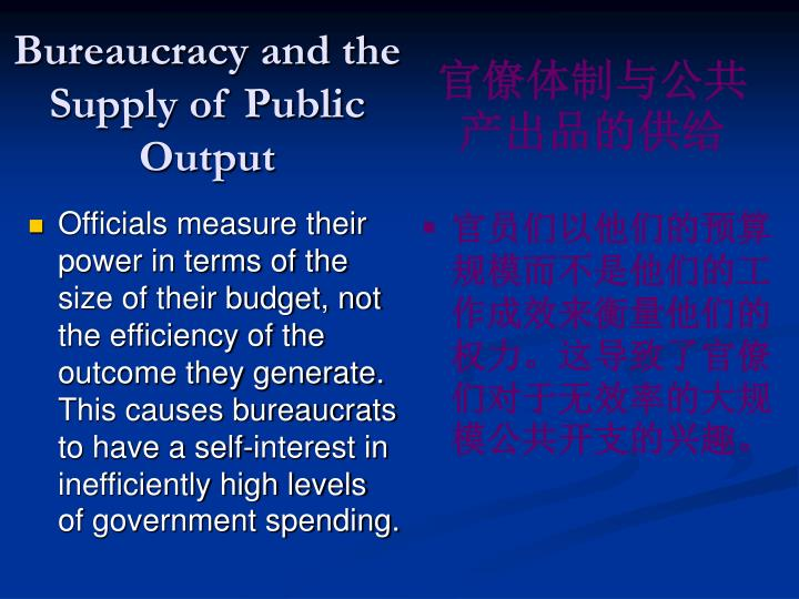 Bureaucracy and the Supply of Public Output