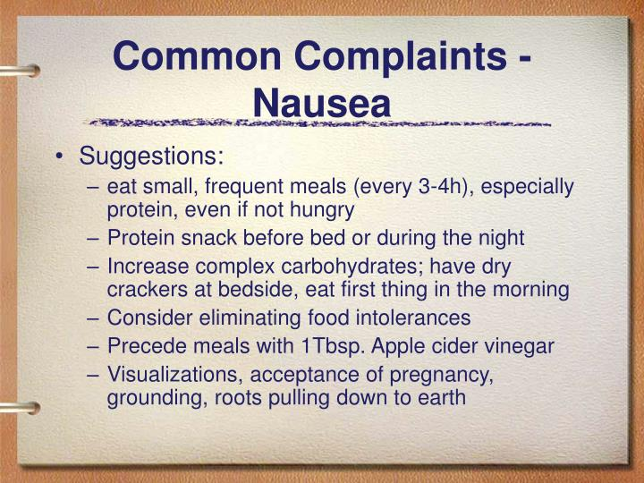 Common Complaints - Nausea