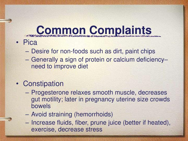 Common Complaints