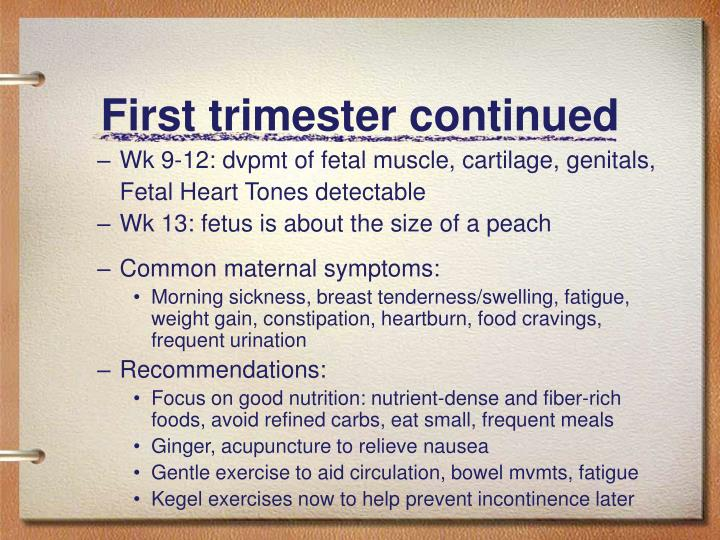 First trimester continued