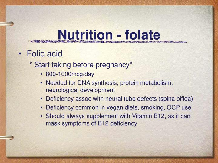 Nutrition - folate