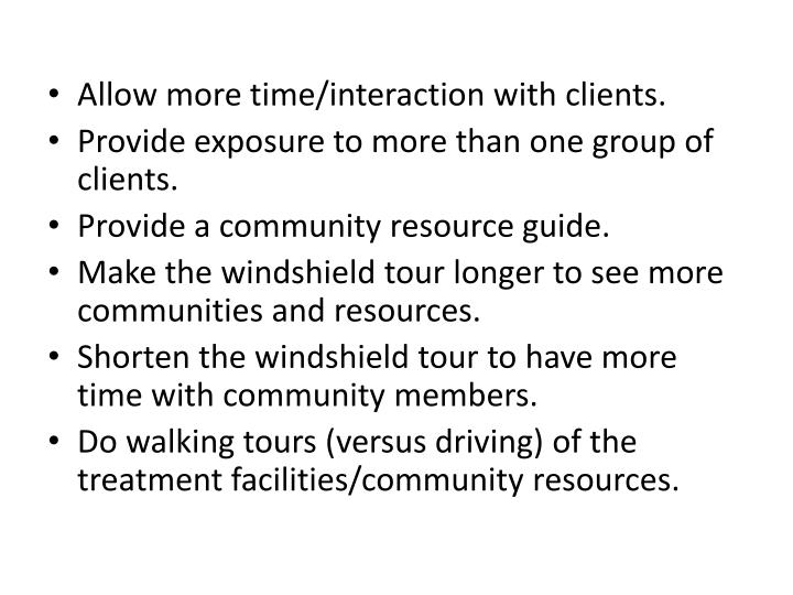 Allow more time/interaction with clients.