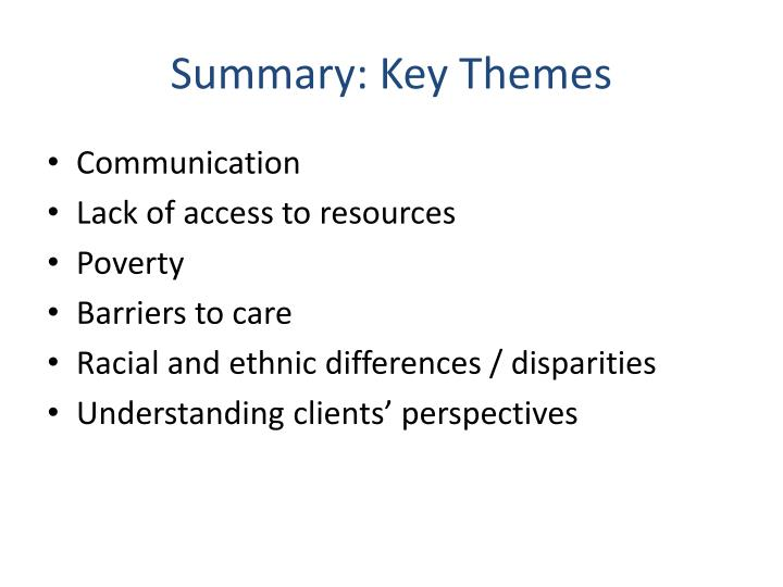 Summary: Key Themes