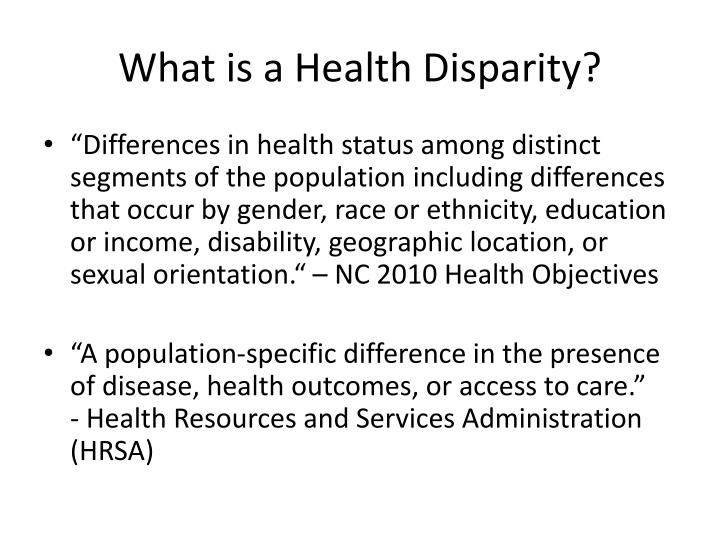 What is a health disparity