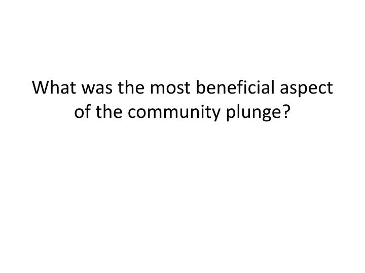 What was the most beneficial aspect of the community plunge?