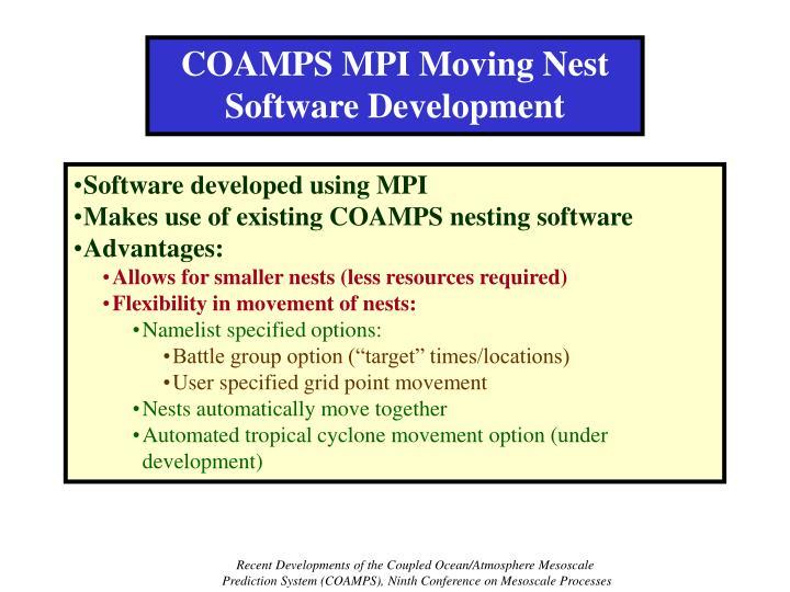 COAMPS MPI Moving Nest Software Development