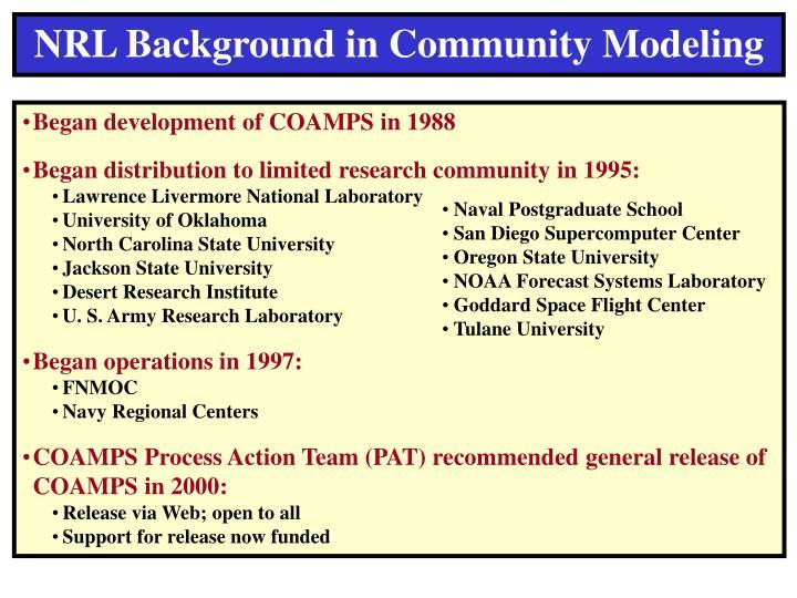 NRL Background in Community Modeling
