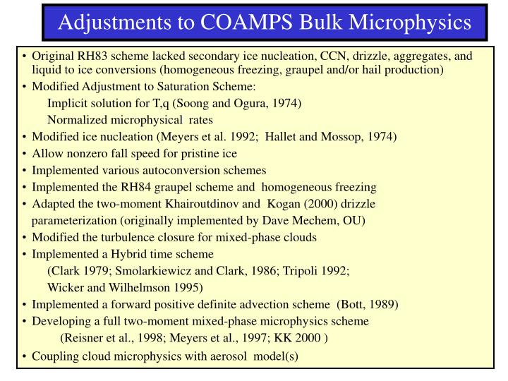 Adjustments to COAMPS Bulk Microphysics
