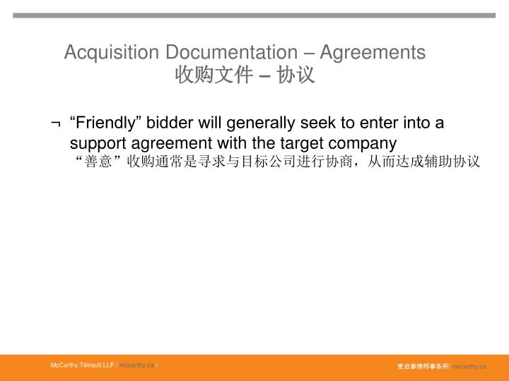 Acquisition Documentation – Agreements