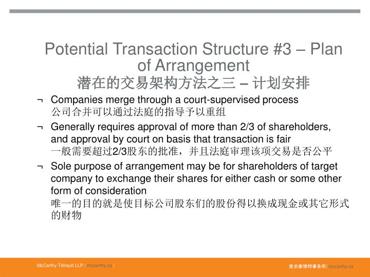 Potential Transaction Structure #3 – Plan of Arrangement