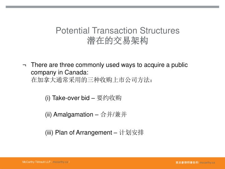 Potential Transaction Structures