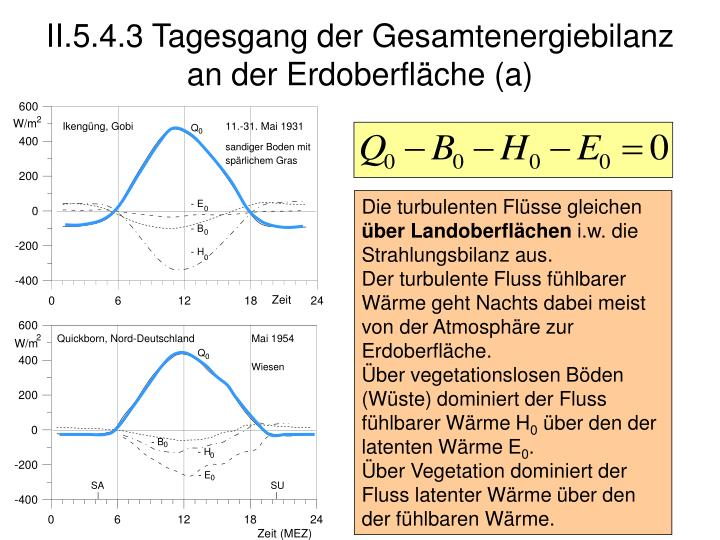II.5.4.3 Tagesgang der Gesamtenergiebilanz an der Erdoberfläche (a)