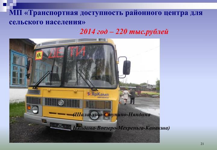 МП «Транспортная доступность районного центра для сельского населения»